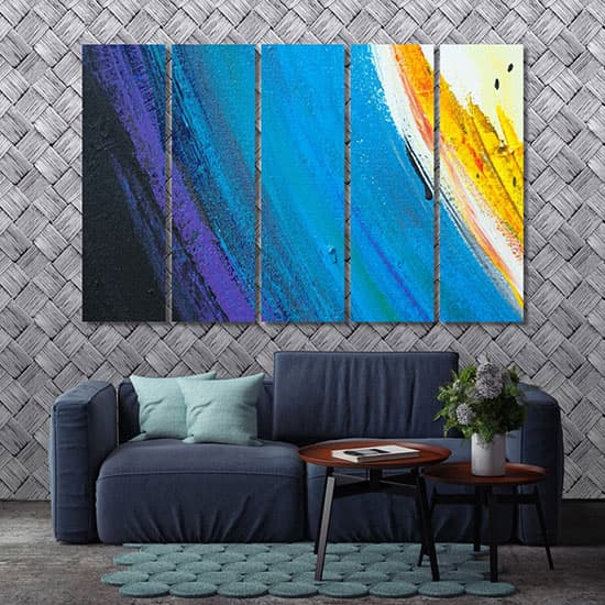 Blue brush strokes poster room art
