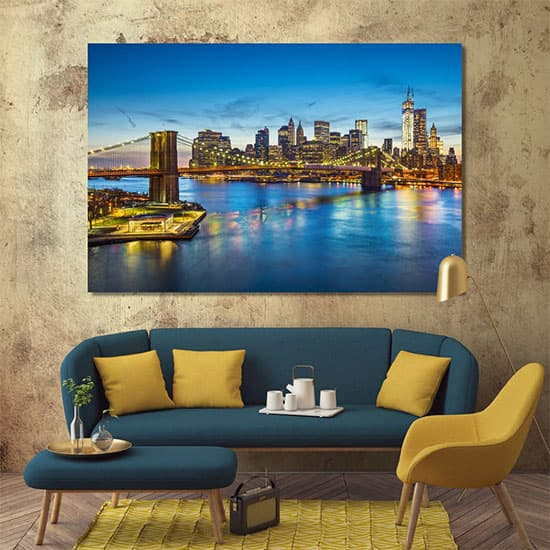 East river in New York city night art prints