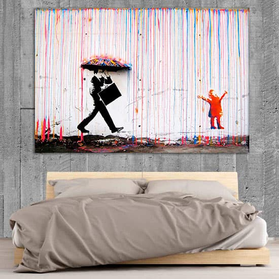 Graffiti man with umbrella poster room art