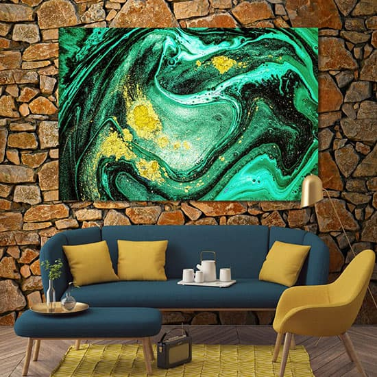 Green abstract modern art poster room art