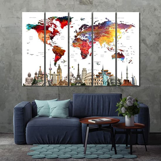 Push pin world map home decor pictures