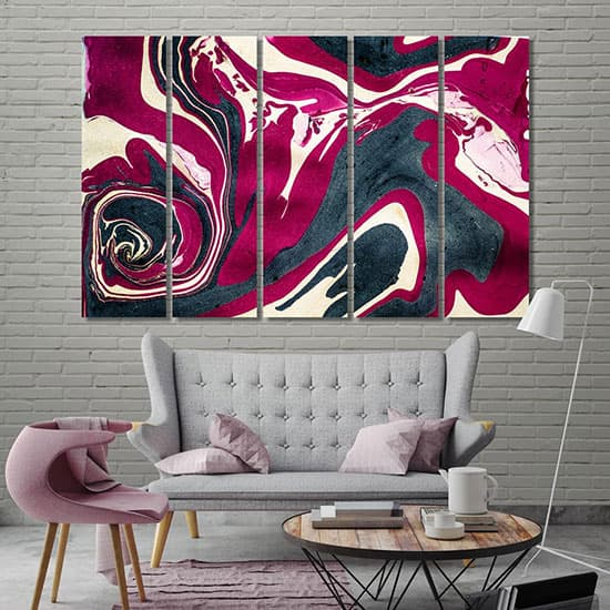 Red & black abstract wall poster room art