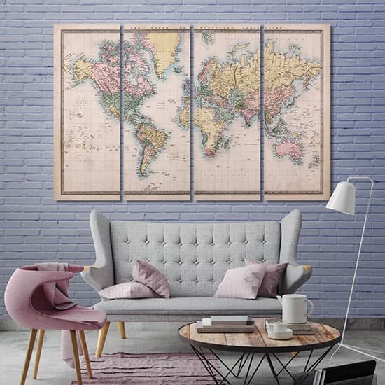 Vintage map art printing canvas