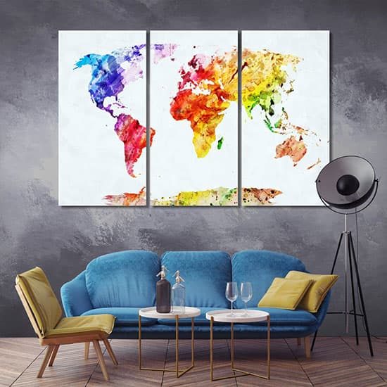 Water color world map artistic prints
