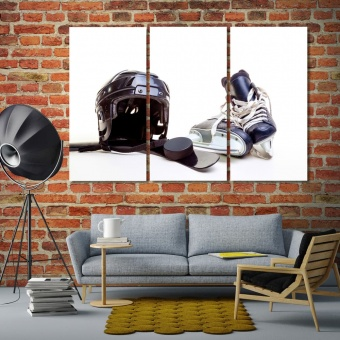 Hockey equipment modern wall accents, hockey art prints on canvas