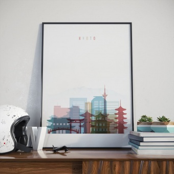 Kyoto cityscape art print, Japan painting for living room