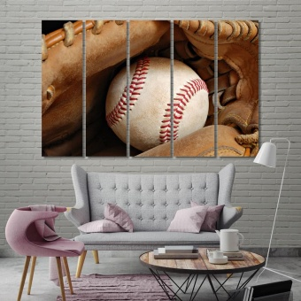 Leather glove with baseball wall decor and home accents