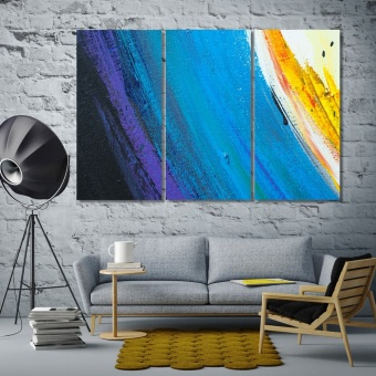 Blue brush strokes canvas prints art, modern abstract wall art