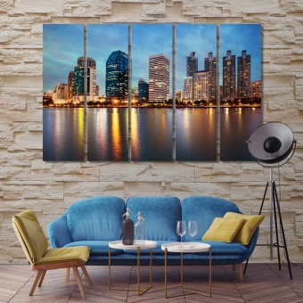 Bangkok cityscape at dusk canvas wall decor