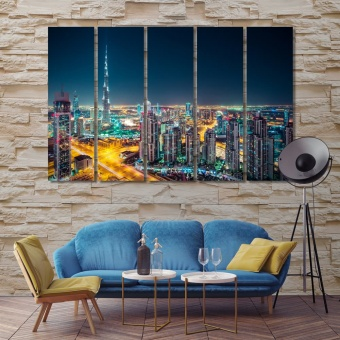 Dubai beautiful night city canvas wall decor