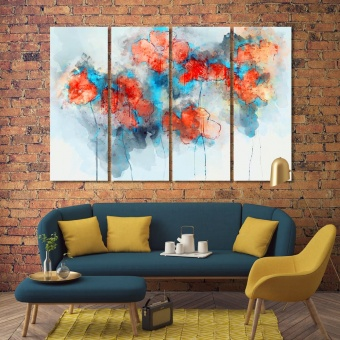 Flowers abstract dining room pictures for walls, watercolor flowers