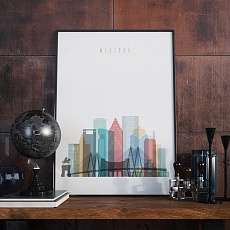 Houston cityscape art print, Texas wall home decor