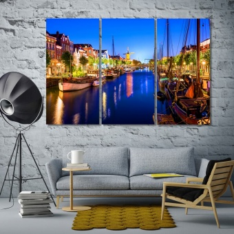 Picturesque Delfshaven in Rotterdam at night, Netherlands art on wall