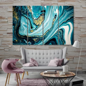 Modern abstract canvas wall pictures, blue abstract