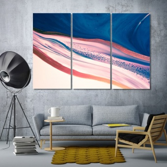 Pink and blue abstract decor artistic prints on canvas