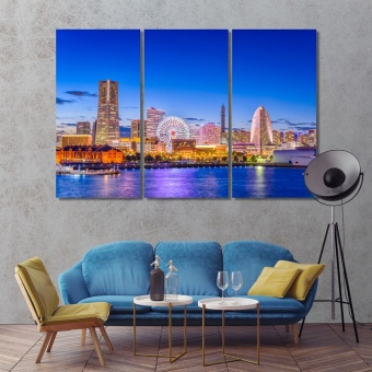 Yokohama cool art for walls, Japan city skyline artwork for home