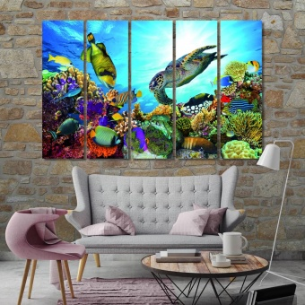 Underwater world modern contemporary wall decor, tropical fish artwork