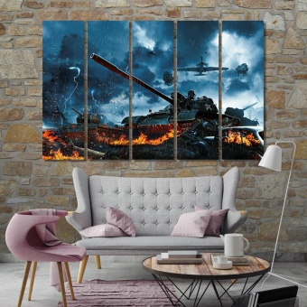 Military equipment wall canvas decor, tanks on the battlefield artwork