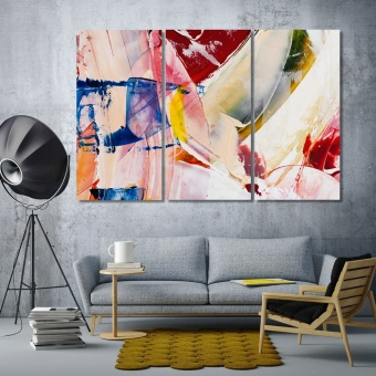 Abstract art printing on canvas, brush strokes red wall decor