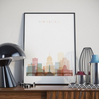 Springfield art print, Illinois dining room wall decorations