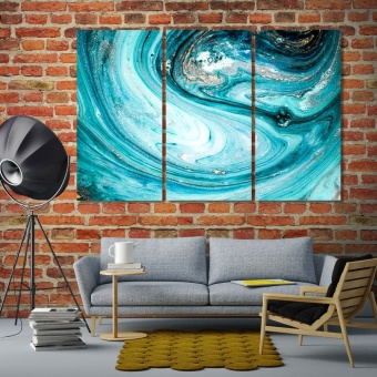 Modern aqua abstract canvas prints art, blue abstract home decor art