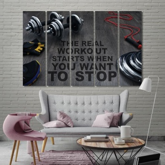 Sport motivation cool art on canvas, weightlifting equipment decor art