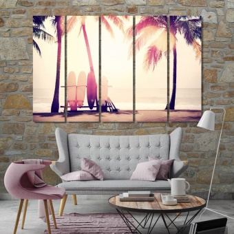 Sunny beach art for living room walls, palms trees wall art large