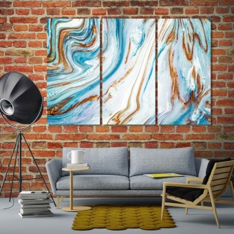 Modern abstract large framed artwork, paint on canvas art
