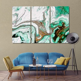 Original abstract art prints on canvas, emerald abstract art on wall