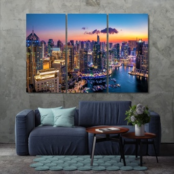 Dubai contemporary canvas wall art, UAE wall decor set