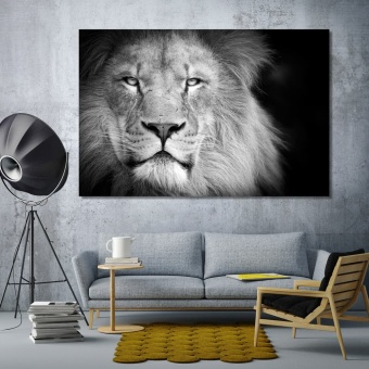 Lion artistic prints on canvas, king of beasts black & white artwork