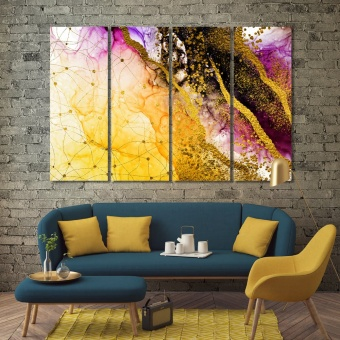 Abstract modern wall decorations, drops of paint print canvas art