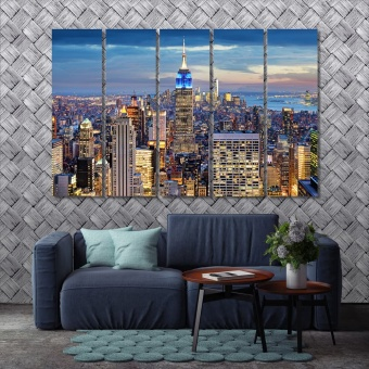 New York city at night canvas art prints, Manhattan artwork for walls
