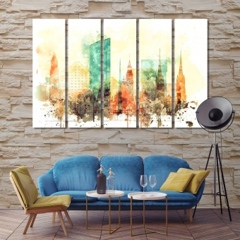 Wroclaw watercolor drawing on canvas, Poland wall art design