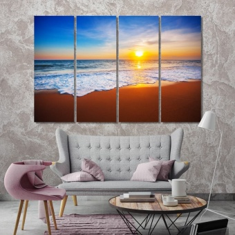 Sunset and sea pictures for living room, beach print canvas art