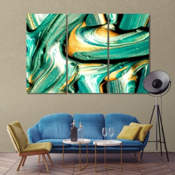 Green abstract art printing on canvas, art for walls