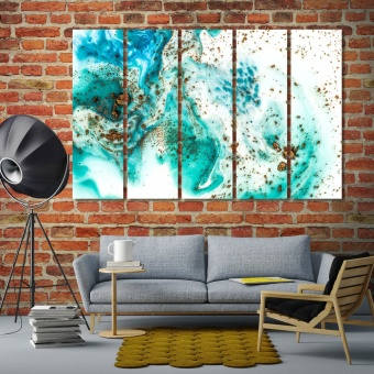 Emerald abstract framed wall pictures for living room