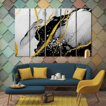 Gold & black abstract canvas prints art, abstract wall art collections
