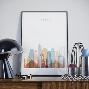Istanbul skyline print, Turkey interior wall decor