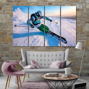 Skiing in the snowy mountains art prints on canvas