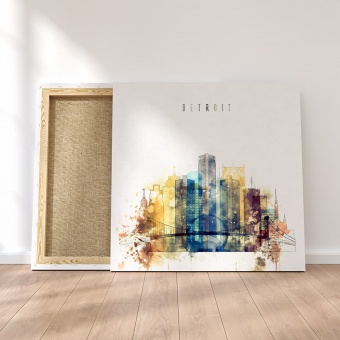 Detroit large wall art canvas, Michigan artwork for home