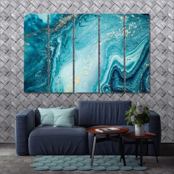 Abstract ocean art wall decor ideas for living room