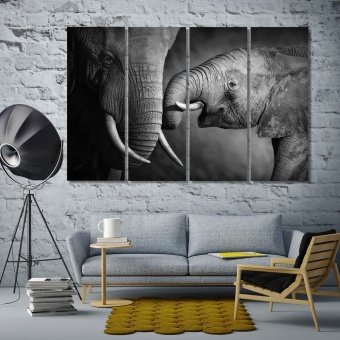 Elephants black and white photos for bedroom, wildlife canvas wall art