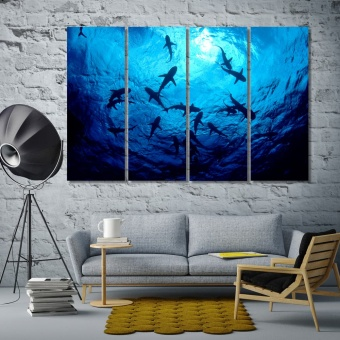 Sharks underwater contemporary wall art decor, fishes home art