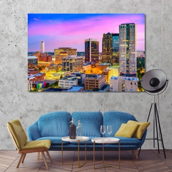 Birmingham city at night, Alabama canvas prints art