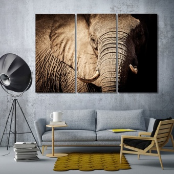 Elephant modern contemporary wall decor, big wild animal art for walls