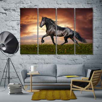 Run horse living room pictures for walls, pets animal home art