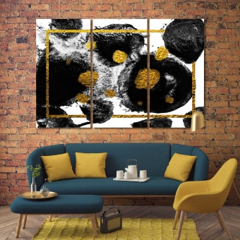 Black spots with gold on canvas