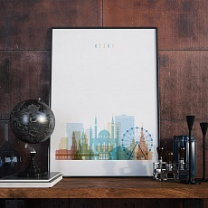 Kazan skyline print, Russia living room wall pictures