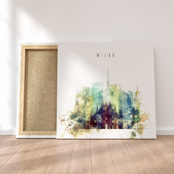 Milan canvas wall pictures, Italy watercolor painting